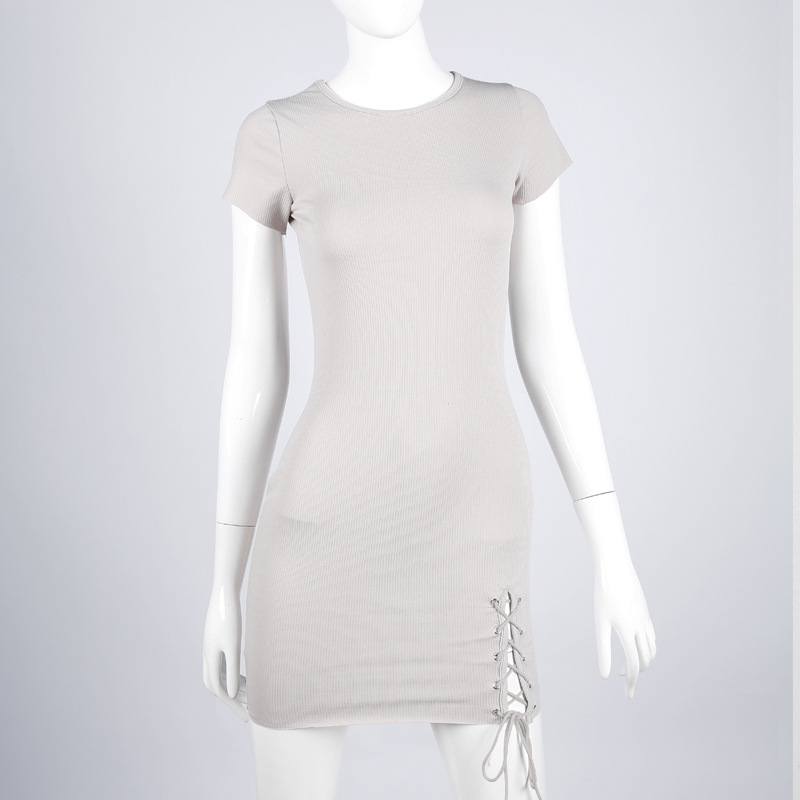 Bazaleas Summer Side Open Light Grey Mini Dress Female Knitted Bondage Fashion Dresses