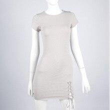 Bazaleas летние открытые по бокам светло-серый мини-платье Женский вязаный рабства моды Платья для женщин