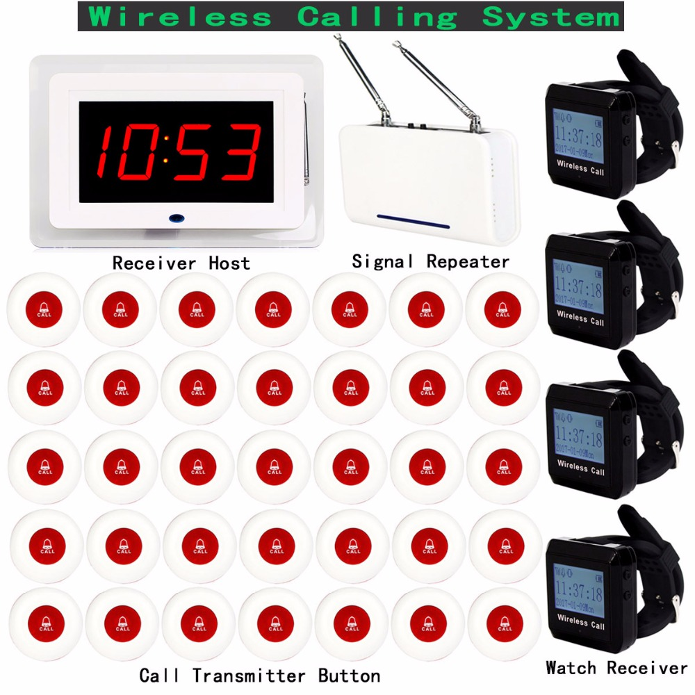 Wireless Calling System for Restaurant 1pcs Receiver Host +4pcs Watch Receiver +1pcs Signal Repeater +35pcs Call Button F3258 433mhz restaurant bar wireless call paging system 1pcs watch receiver host 10pcs transmitter button restaurant equipment f3258