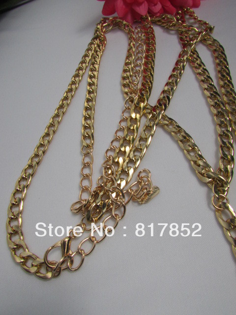 Free shipping 2013 New Arrival WOMENGOLD METAL THIN CHAINS CLASSIC BODY TEE SHAPE FASHION NECKLACE JEWELRY