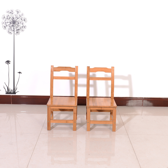 2pcs Bamboo Simple Children Chairs Wood Color Dropshipping
