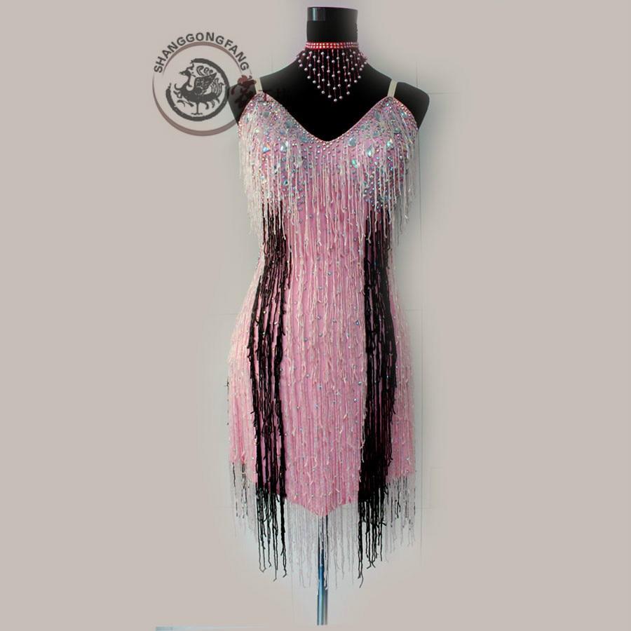 New latin dance costume sexy senior diamond tassel latin dance dress for women child latin dance competition dresses S-4XL