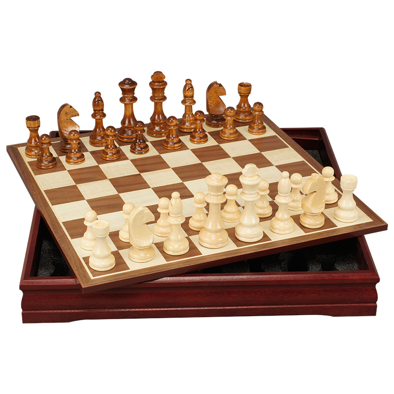 Jeu d'échecs International roi 70mm échiquier en bois bouleau avec échiquier en bois jeu de société 30 cm X 30 cm