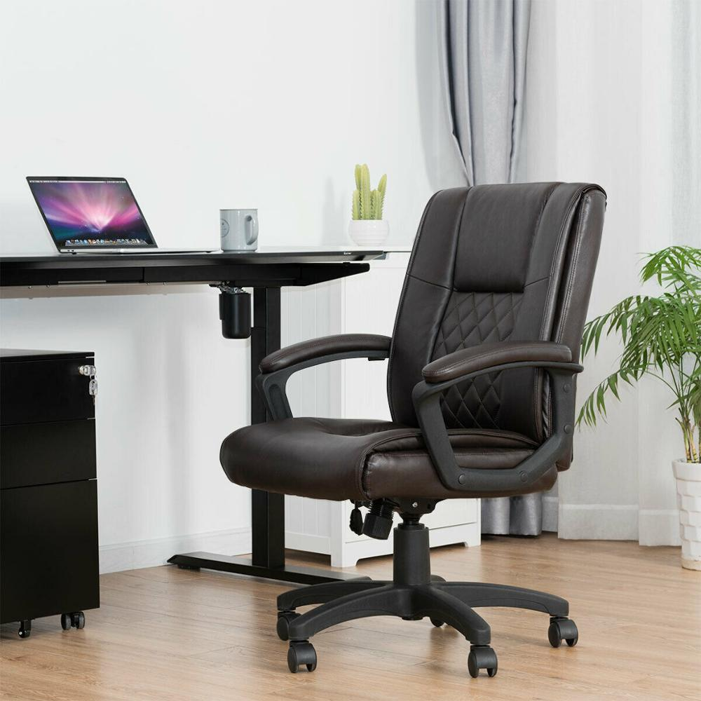 Goplus Ergonomic PU Leather Mid-Back Executive Computer Desk Task Office Chair Brown Home Furniture HW61042