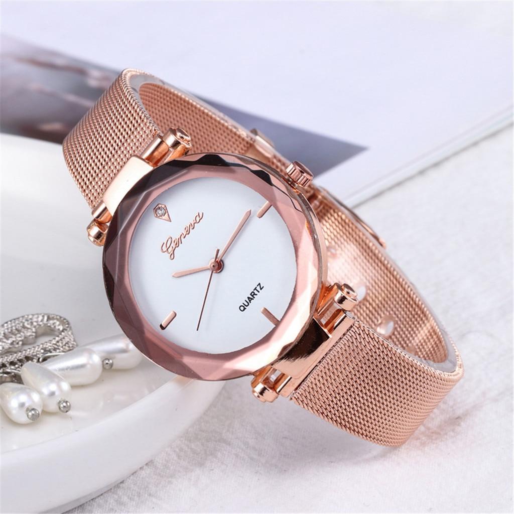 Geneva Brand Fashion Silver And Gold Mesh Band Creative Marble Wrist Watch Casual Women Quartz Watches Gift Relogio Feminino 533