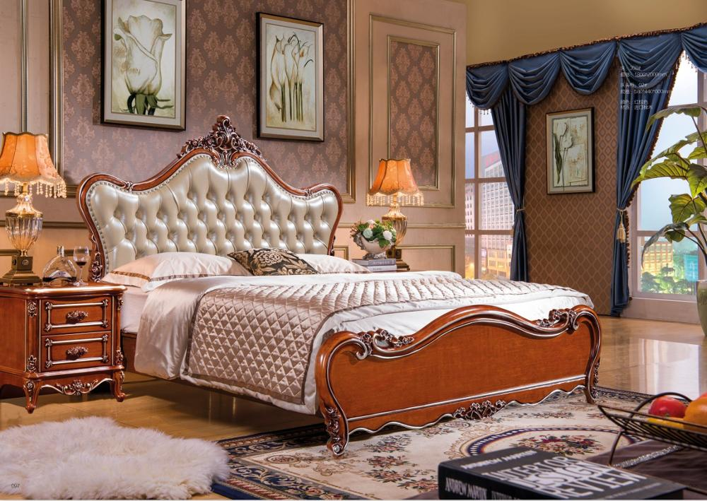 modern european solid wood bed Fashion Carved  1.8 m bed  french bedroom furniture DN308modern european solid wood bed Fashion Carved  1.8 m bed  french bedroom furniture DN308