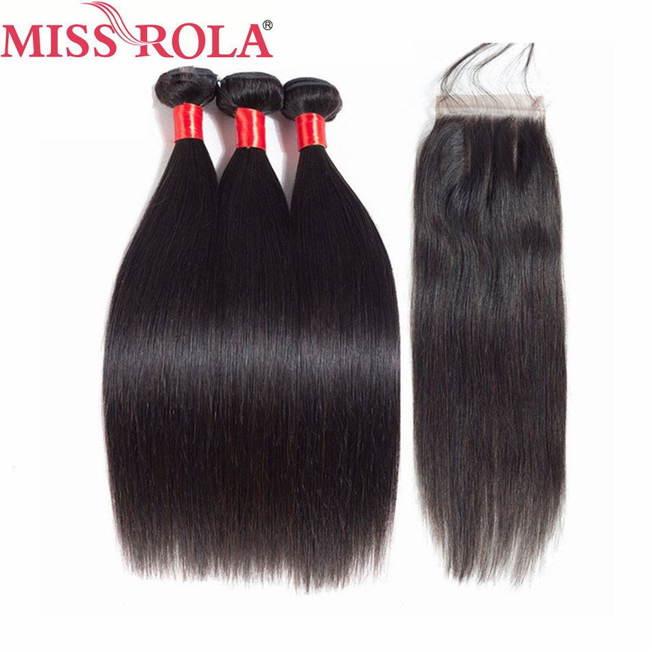 Miss Rola Hair Pre-colored Brazilian Hair Straight 3 Bundles 100% Human Hair Extensions With Closure #1 Nature Color Non Remy