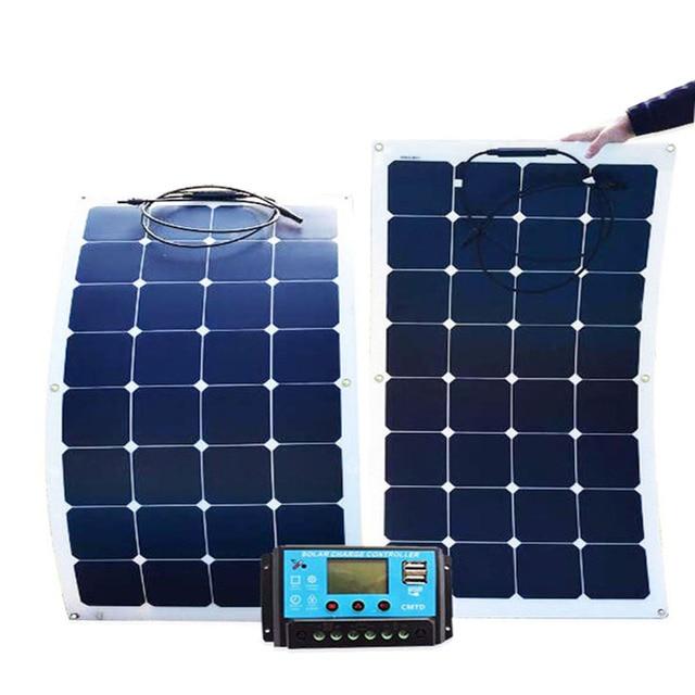 Solar panel monocrystalline 200W foldable flexible panels 2 pcs 18V 100w with 20A Controller 12V or 24V 200 Watt 100 Watt system 1