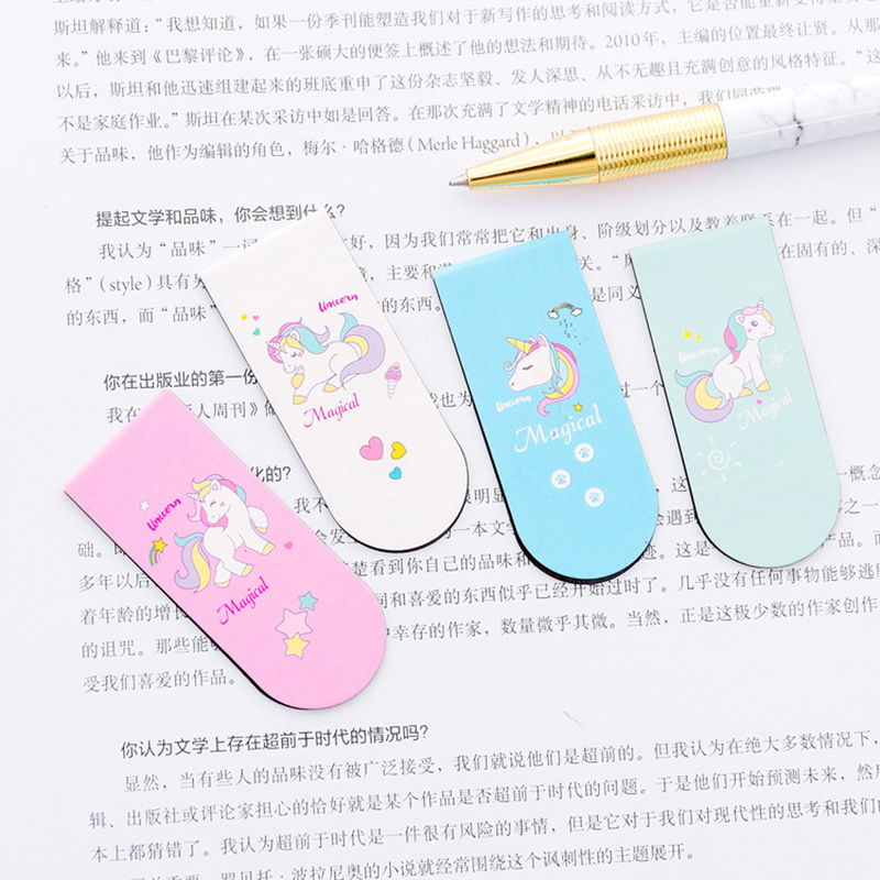 Cartoon Kawai Unicorn Bookmarks Creative Magnetic Paper Clips Book Markers For Books Korean Stationery Office School Supplies