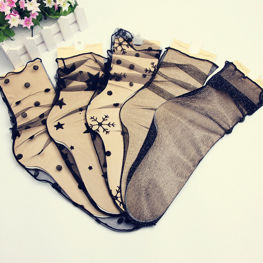 Fashion Crystal Silk Coolmax Lace Socks Women Transparent Elastic Funny Socks