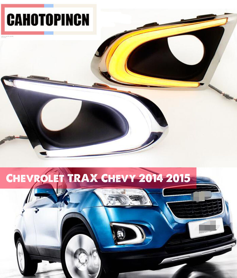 1 set For Chevrolet TRAX Chevy 2014 2015 LED DRL Daytime Running Lights Daylight With yellow