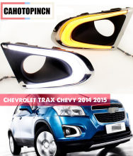1 set For Chevrolet TRAX Chevy 2014 2015 LED DRL Daytime Running Lights Daylight With yellow turn signal and fog lamp hole(China)
