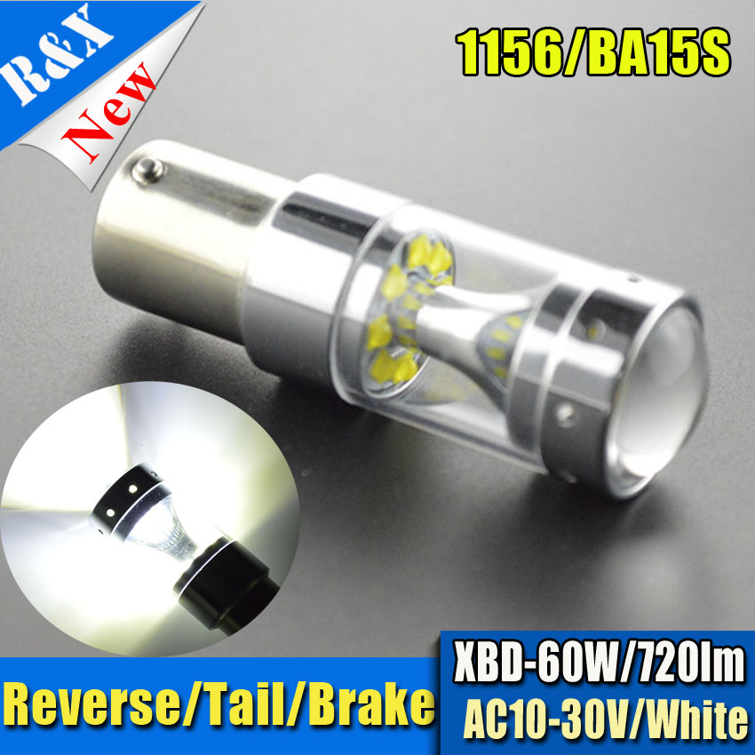 2pcs S25 LED 1156 BA15S 60W High Power Car Tail Brake Bulbs AC 12V 24V Reverse Light 750lm Lamp White or Amber