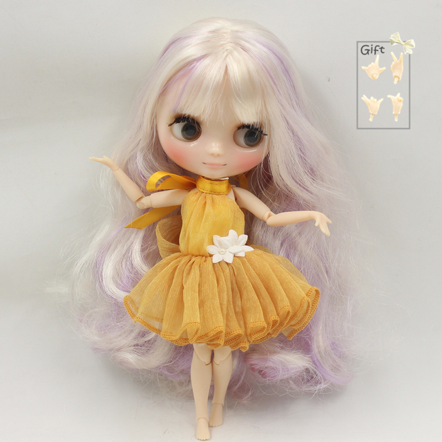 Factory Middie Blythe Doll Golden Purple Hair Jointed Body 20cm