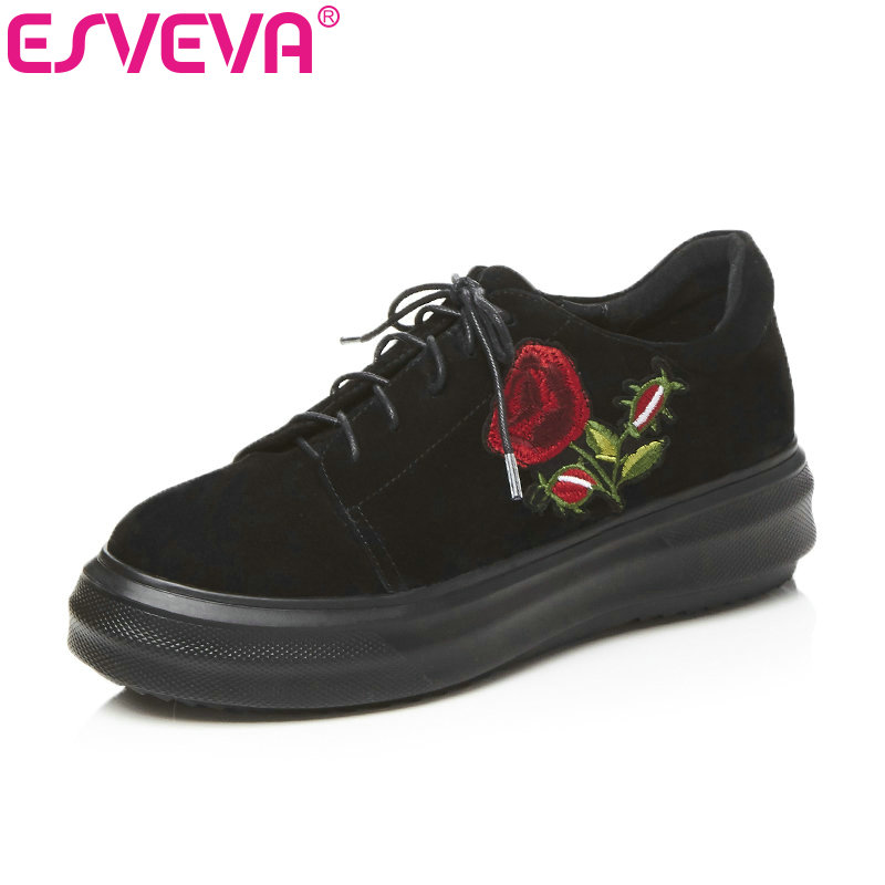 ESVEVA 2018 Women Pumps Platform Fashion Embroidery Wedges Med Heel Ladies Pumps Casual Lace Up Ladies Med Heel Shoes Size 34-39 morazora plus size 34 42 wedges shoes med heels 4 5cm round toe single shoes fashion lace up women pumps platform