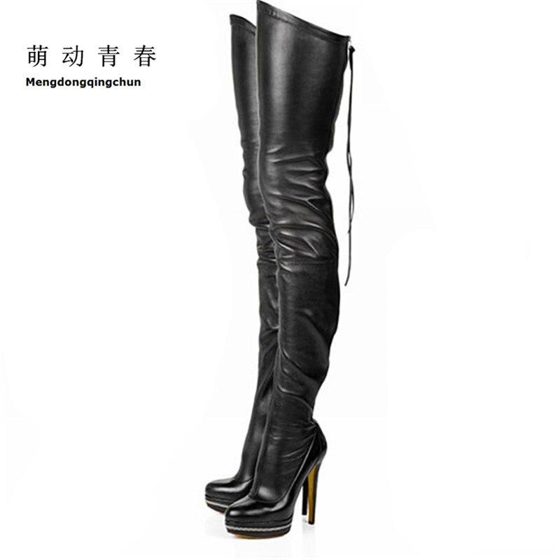 2017 женские сапоги из эластичной искусственной кожи выше колена, сексуальные вечерние туфли на высоком каблуке и платформе, женская обувь че...