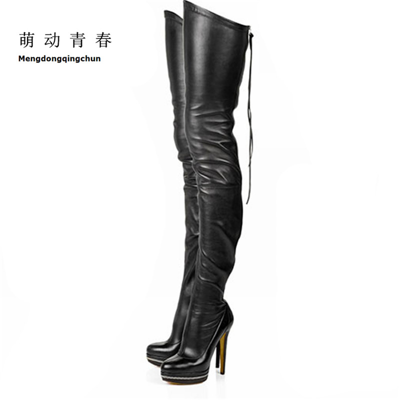 2017 Women Boots Stretch PU Leather Over The Knee High Sexy Ladies Party High Heels Platform Shoes Woman Black Plus Size 43 2017 women boots stretch pu leather over the knee high sexy ladies party high heels platform shoes woman black plus size 43