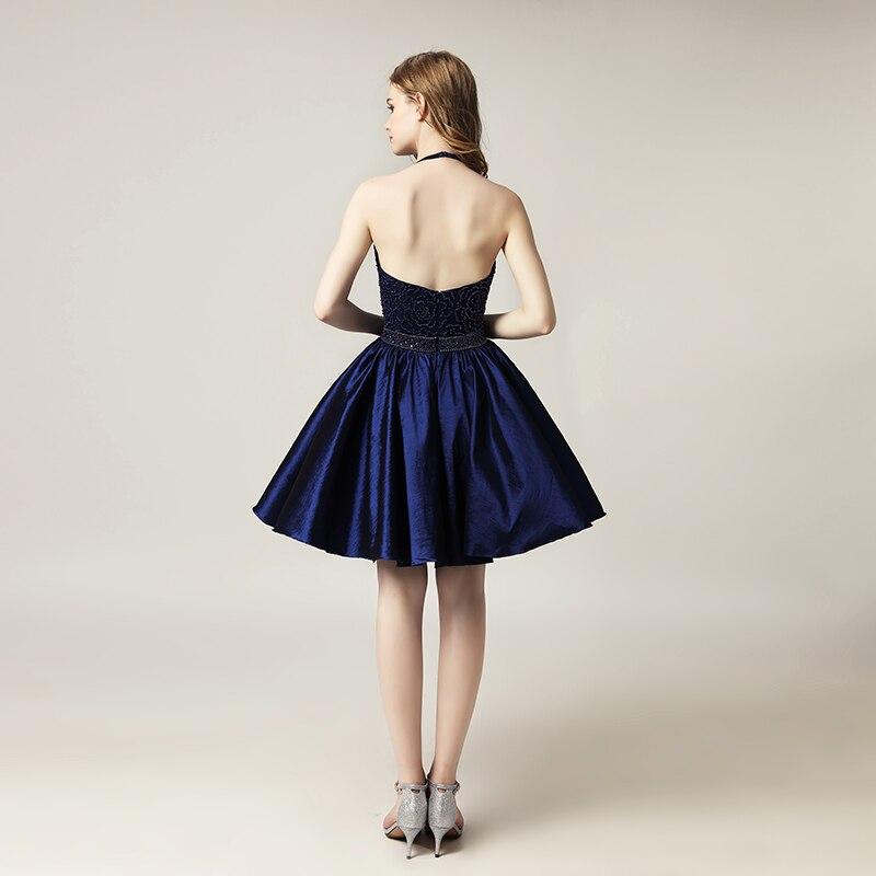 Krótkie sukienki homecoming winogron z Halter bez rękawów Tafta - Suknie specjalne okazje - Zdjęcie 6