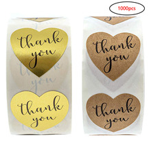 Natural Kraft Heart shape gold thank you Stickers seal labels 500 Labels stickers scrapbooking for Package stationery sticker
