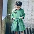 Карманы оборками девушки платье принцессы дети 2017 новая коллекция весна осень зима с длинным рукавом зеленый ребенок подросток девушка платье детская одежда