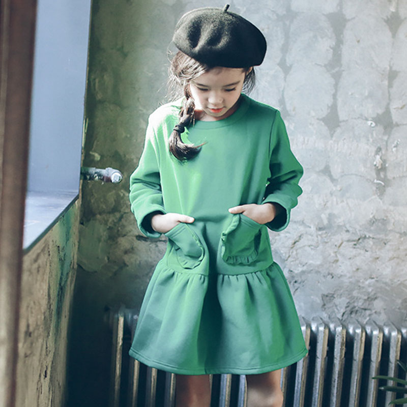pockets ruffles girls princess dress kids 2017 new spring autumn winter long sleeve green baby teen girl dress children clothing  fashion 2017 spring autumn new girls cotton knitting dress hat 2 piece thickening baby girl princess dress winter kids clothes