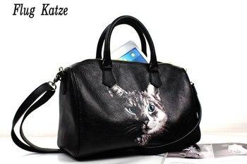 100% Genuine Leather  cowhide  Handbag printing header layer of Boston handbags Crossbody Boston Europe wind pillow