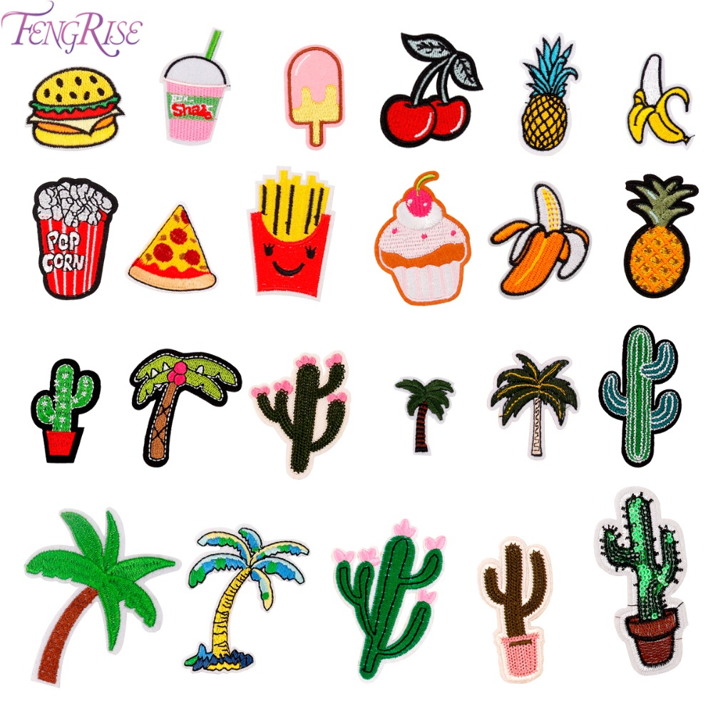 FENGRISE Mixed Fruit Cactus Embroidered Patches For Clothing DIY Apparel Accessores Iron On Patch Badge Sewing Fabric Stickers