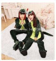 Kigurums Flannel Animal Green Dragon Dinosaur Pajamas Anime Cartoon Costumes Sleepwear Cosplay Onesie