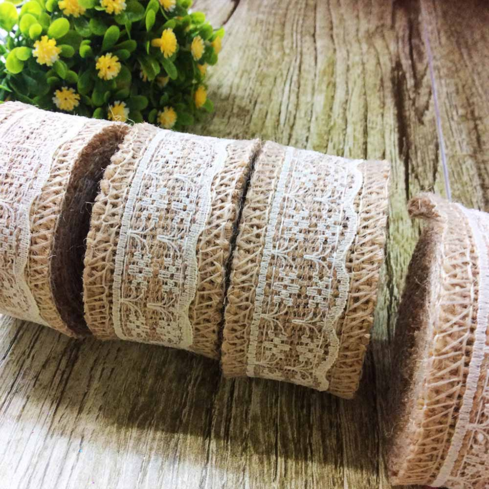 2m Vintage Wedding Rustic Decoration Natural Jute Burlap Hessian Ribbon Lace Rustic Edge Trims Tape Rustic