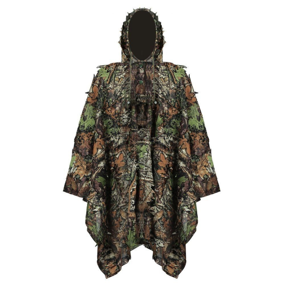 Onedoyee Camo 3D Feuilles Costume De Ghillie Poncho Camouflage Chasse Vêtements Camping Chasseur Jungle Woodland Chasse Camo Poncho Manteau