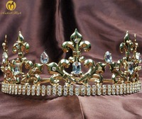 King Prince Gold Tiaras Crowns for Men Imperial Medieval Handmade Clear Crystal Rhinestone Headband Pageant Party Costumes
