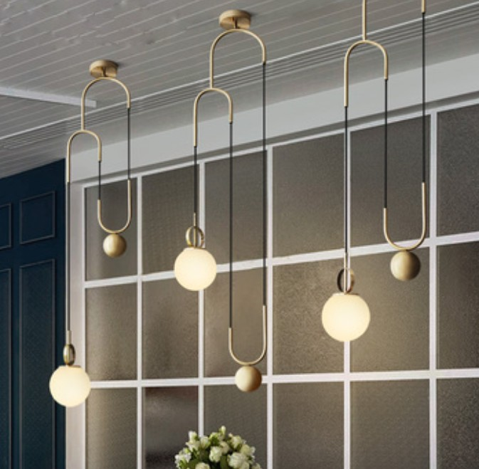 Nordic Modern Metal Pendant Lights for Dining Room Restaurant Bar Bedroom Lounge Lifting Glass Ball Hanging LED Lamps Fixtures