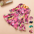 Long Sleeve Girl Dress Floarl Print Spring Autumn Children Clothing Baby & Kids Princess Flower Baby Girls Dress Free Shipping