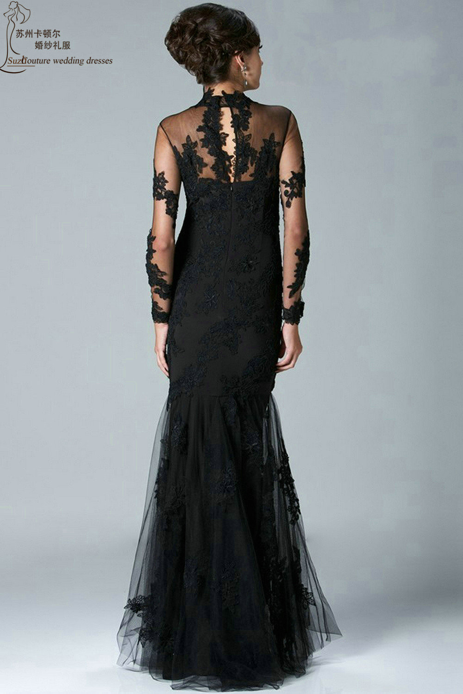 Black mermaid prom dresses PM6255 elegant long sleeve lace prom ...