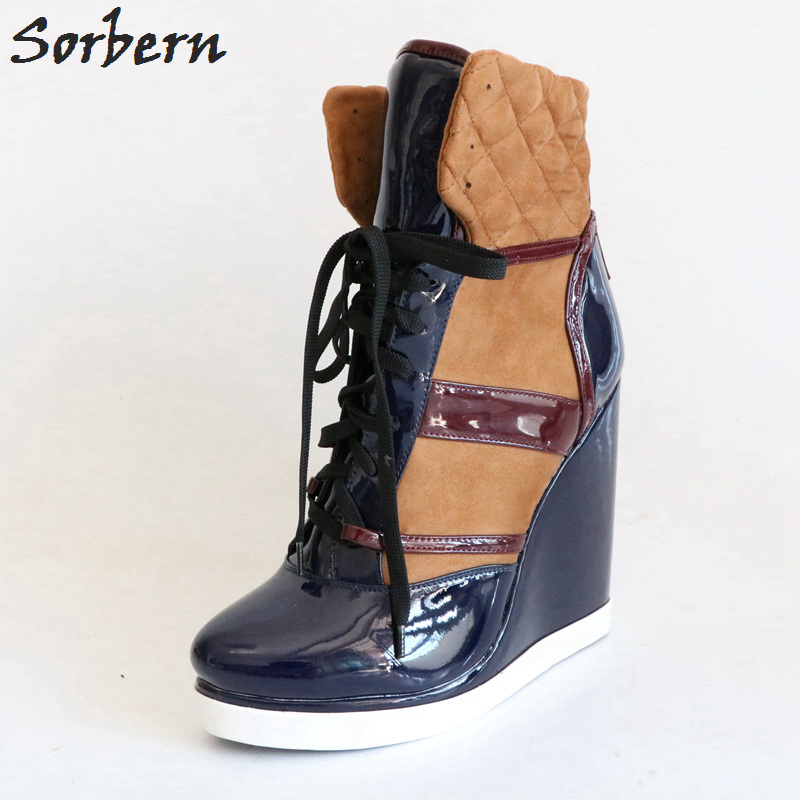 Sorbern Fashion Wedge High Heel Ankle Boots For Women Unisex Big Size Shoes Ankle High Boots Wedge Shoes Women 2018 Heels