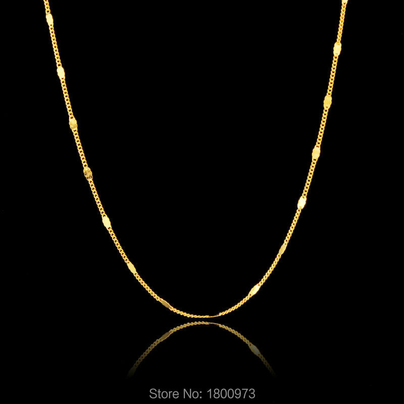 Hot sale Mens Women Unisex . Yellow Gold Filled Thin Necklace Link Chain