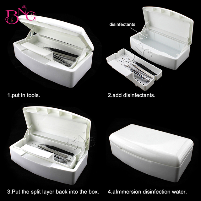 Bng Sterilizer Box Nail Art Makeup Tools White Container Manicure Beauty Salon Equipment Double Layer