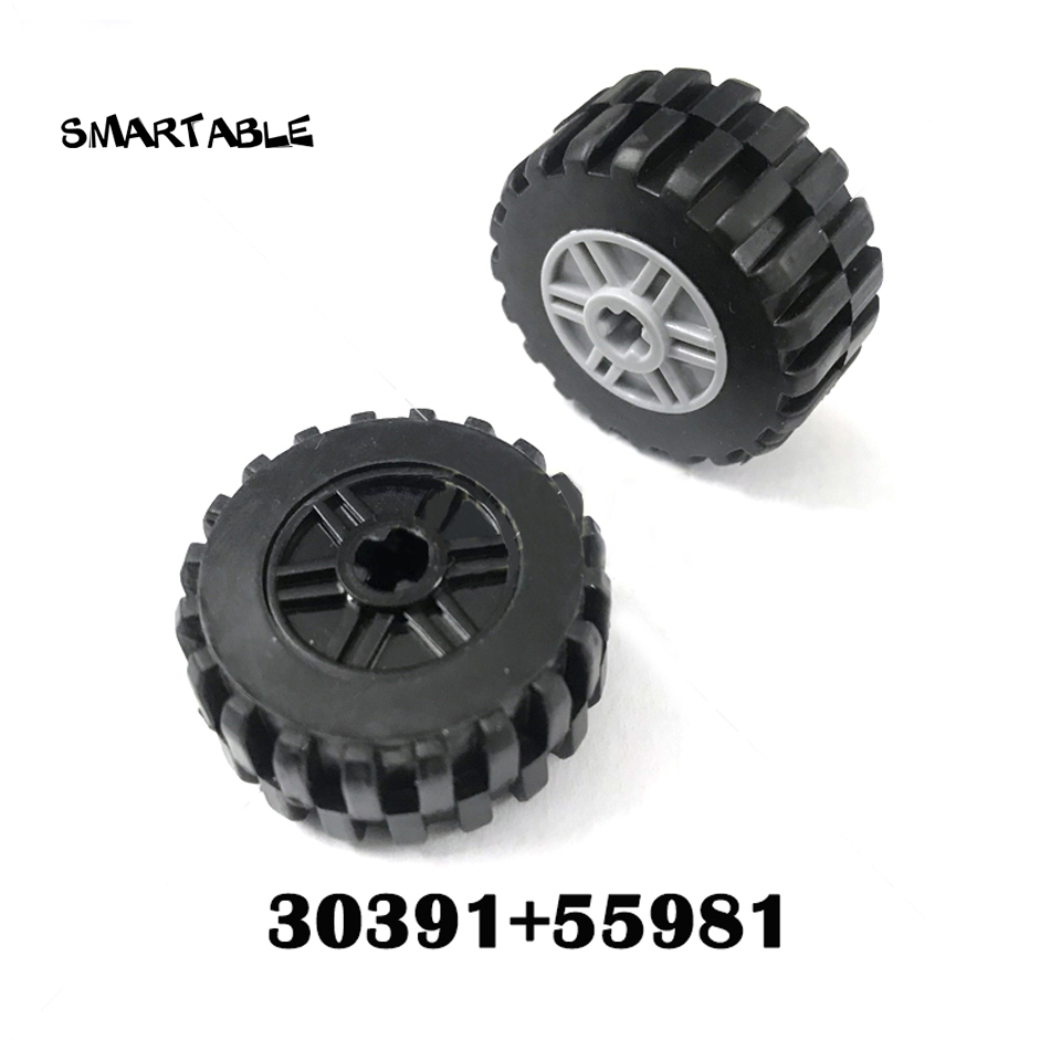 Galleria fotografica Smartable <font><b>technic</b></font> Ev3 30x14mm wheel & 18x14mm Hub parti building block Giocattoli Compatibile <font><b>Legoing</b></font> <font><b>technic</b></font> 30391 + 55981 5 pz/set