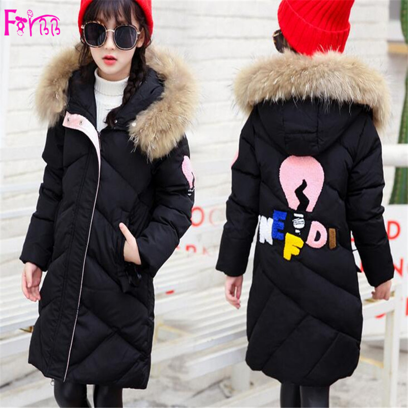 Kids Children's Clothing Outerwear Down Parkas children coat girls coats and jackets Cartoon Print Long  children park