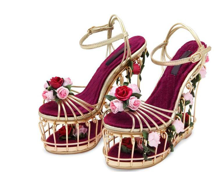 Luxury women shoes high platform wedges sandals bird cage design slingbacks shoes gold rose gold flower bride shoes sandals 2016 gold led shoes women