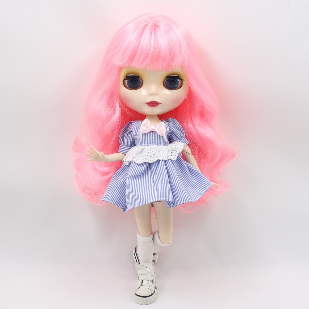 Free shipping blyth doll icy licca BL1215 pink wavy hair joint body 1/6 30cm bjd neo gift toy 1pair shoessuitable for 1 6 doll normal doll joint doll bjd blyth icy jecci five licca body for 30cm doll shoes