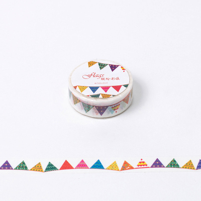 1.5cm*8m Colorful Flag Washi Tape DIY Decoration Scrapbooking Planner Masking Tape Adhesive Tape Label Sticker Stationery