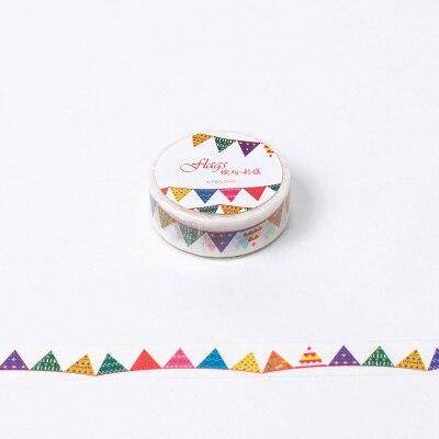 1.5cm*8m Colorful Flag Washi Tape DIY Decoration Scrapbooking Planner Masking Tape Adhesive Tape Label Sticker Stationery