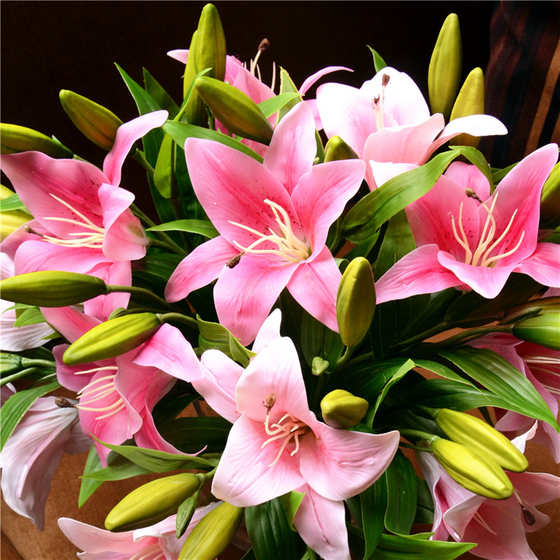 9pcs/lot Pastoral artificial flowers lily perfume feel creative home ...