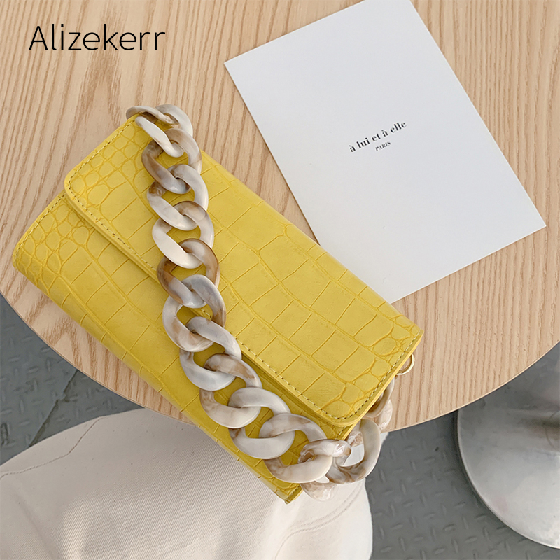 Acrylic Chain Crocodile Print Bag Women Fashion Stone Patterns Small Tote Flap Envelope Clutch Shoulder Bag Purse Ladies Casual