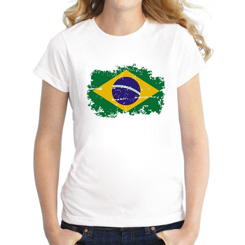 Brazil Rio Summer Games Fans Cheer Women T-shirt Brazil National Flag Trička pro ženy Oblečení s krátkým rukávem