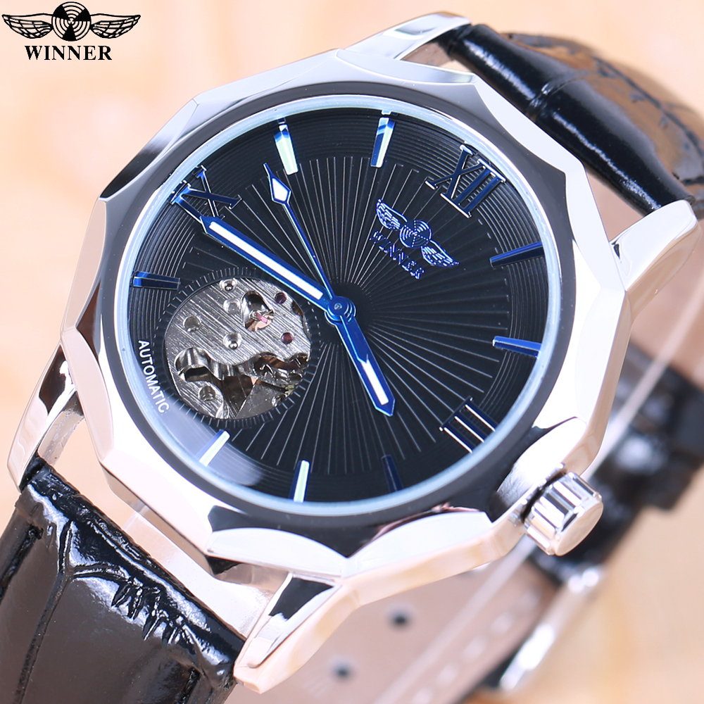 Winnaar Blue Exotic Dodecagon Design Skeleton Dial Herenhorloge - Herenhorloges