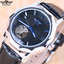 Winner Blue Exotic Dodecagon Design Skeleton Dial Men Watch Geometry  Automatic Fashion Mechanical Watch Top Brand Luxury + BOX fashion winner women luxury brand lady skeleton leather strap watch automatic mechanical wristwatches gift box relogio releges