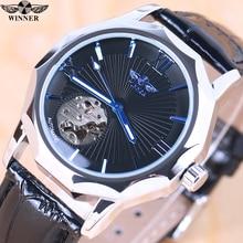 лучшая цена Winner Blue Exotic Dodecagon Design Skeleton Dial Men Watch Geometry  Automatic Fashion Mechanical Watch Top Brand Luxury + BOX
