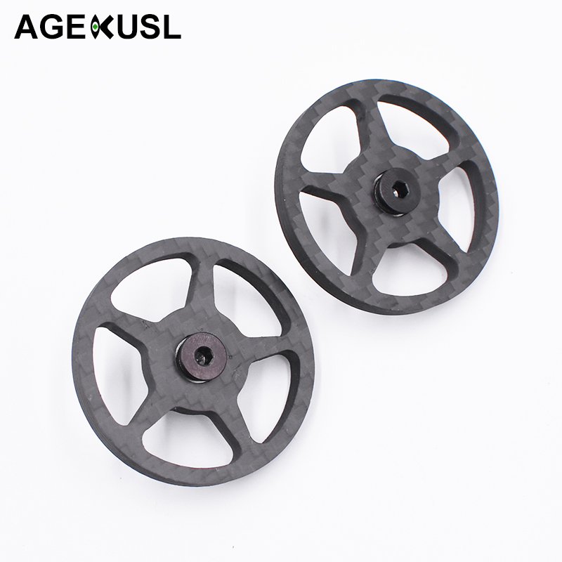 TWTOPSE Lightweight Carbon Fiber Hollow Easy Wheels Easywheel For Brompton Bike Bicycle Bearing Ti Bolt Axle